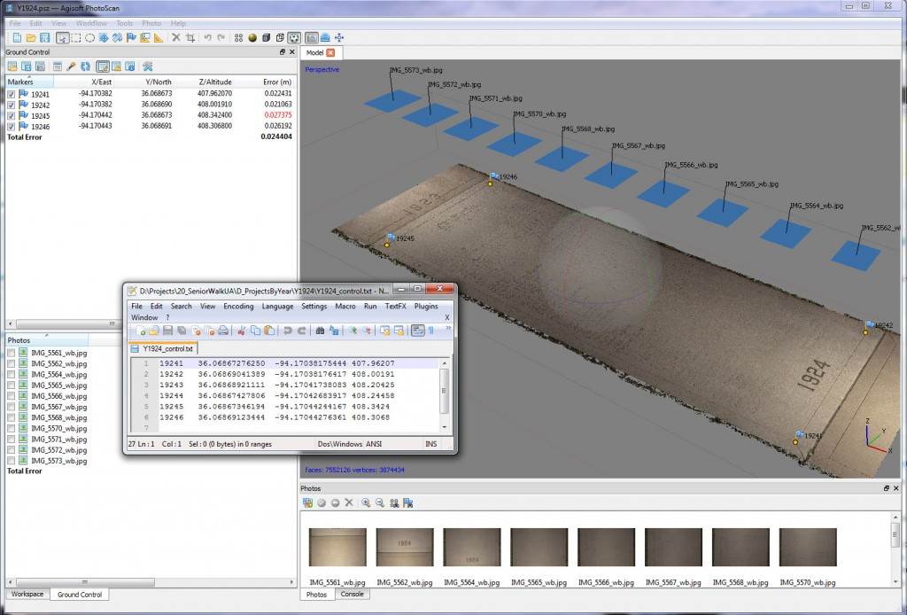 Adding Control Points in PhotoScan Pro